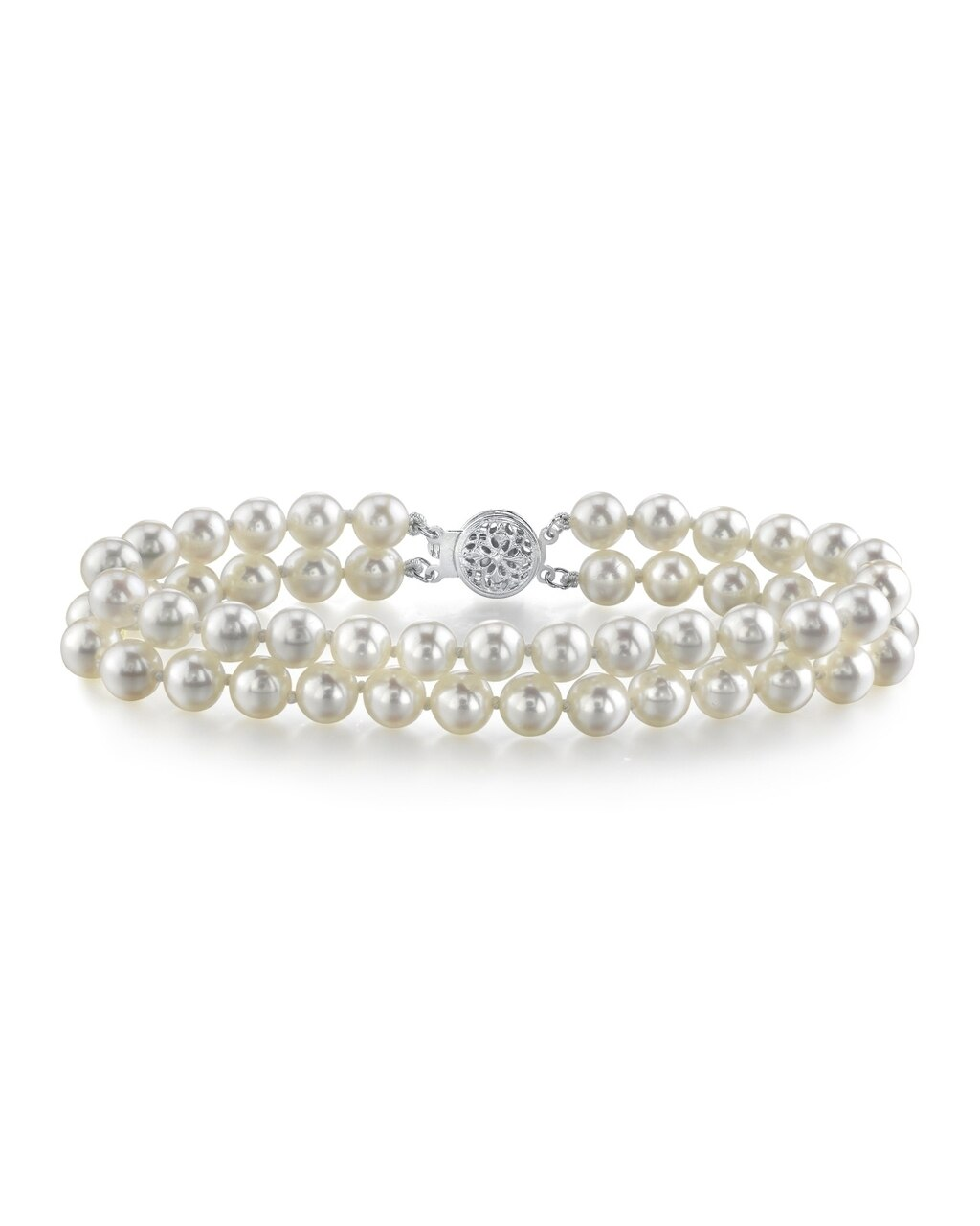 This elegant bracelet features 6.0-6.5mm double Strand Japanese Akoya pearls, handpicked for their luminous luster