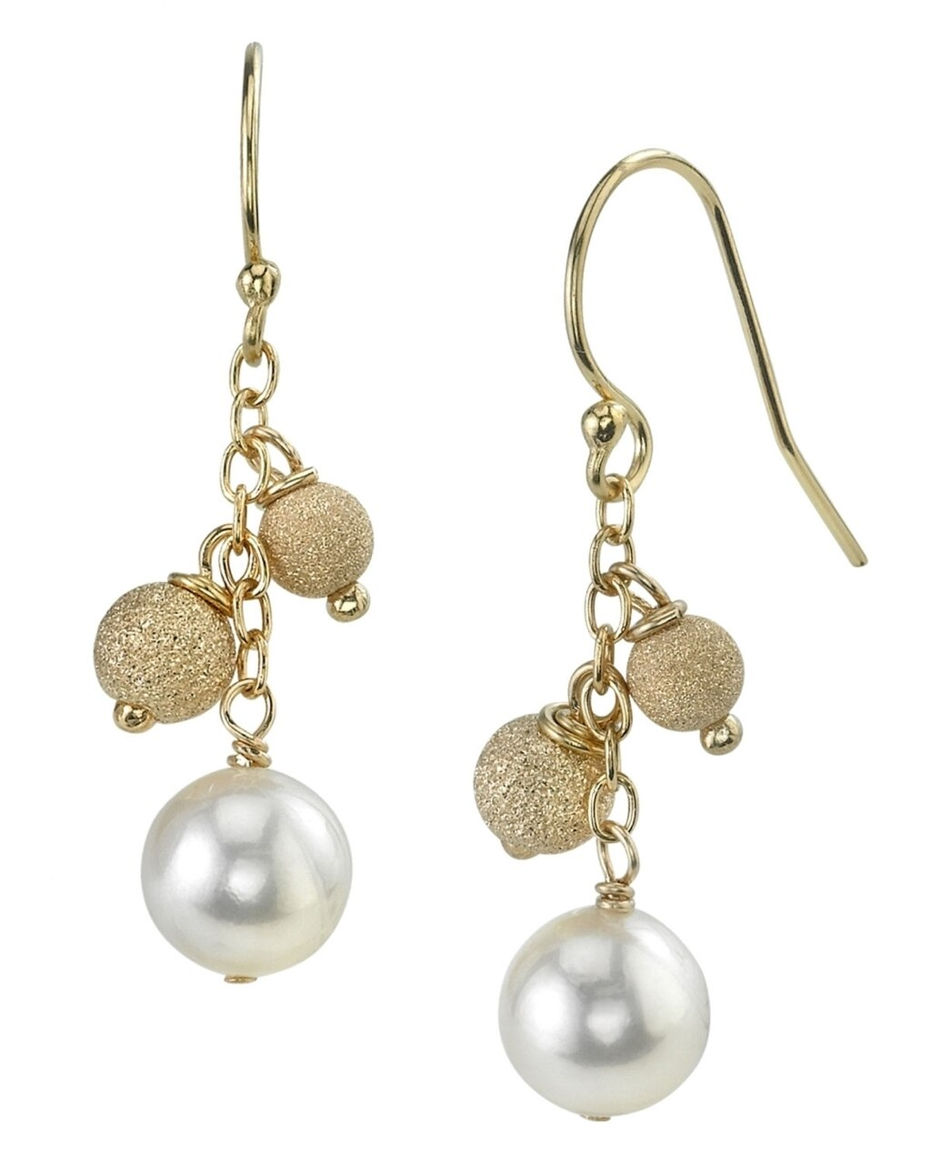 Elegant dangle earrings feature two 6.0-6.5mm Japanese Akoya pearls, selected for their luminous luster