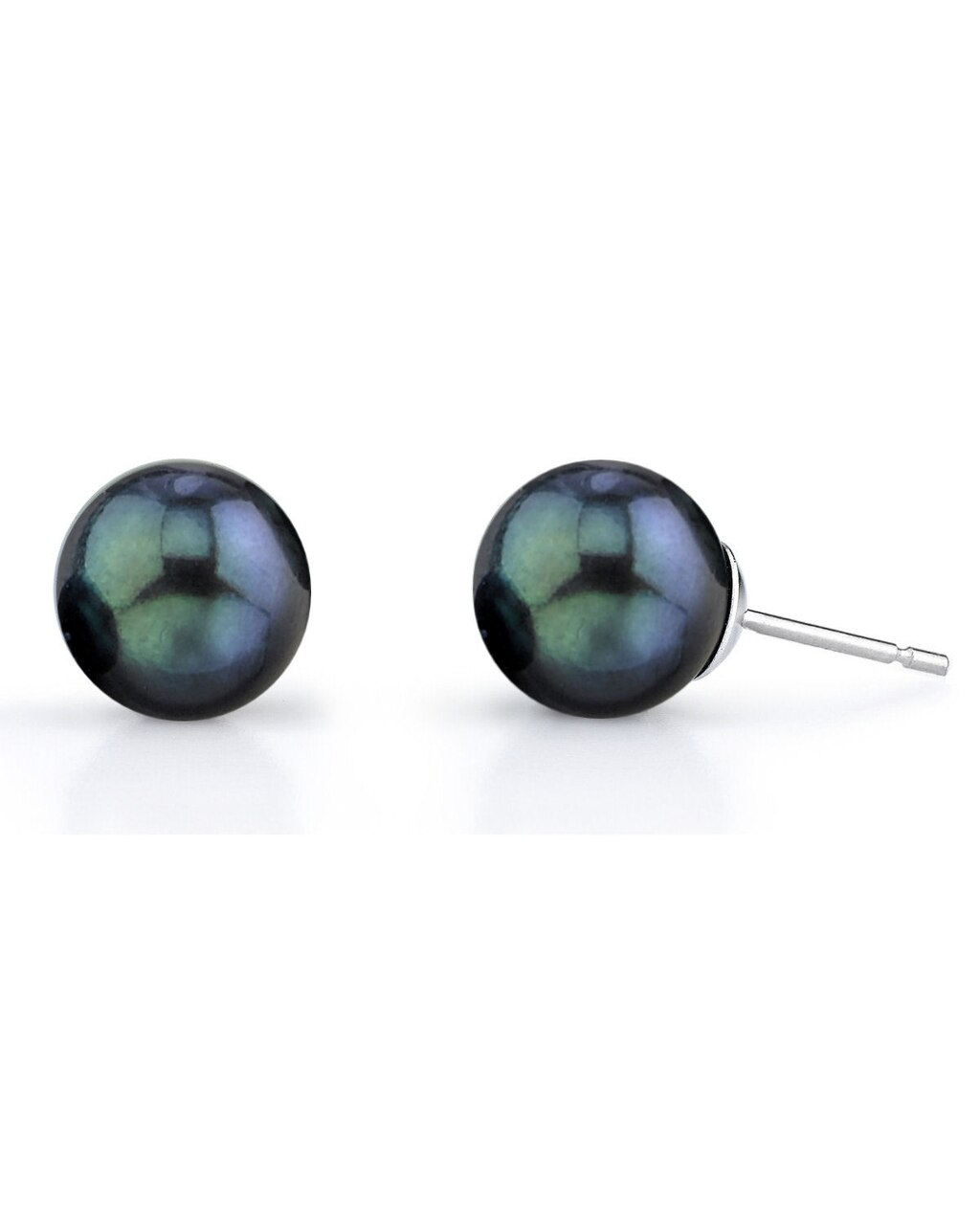 Classic gold stud earrings feature two 7.5-8.0mm Japanese Akoya pearls, selected for their luminous luster