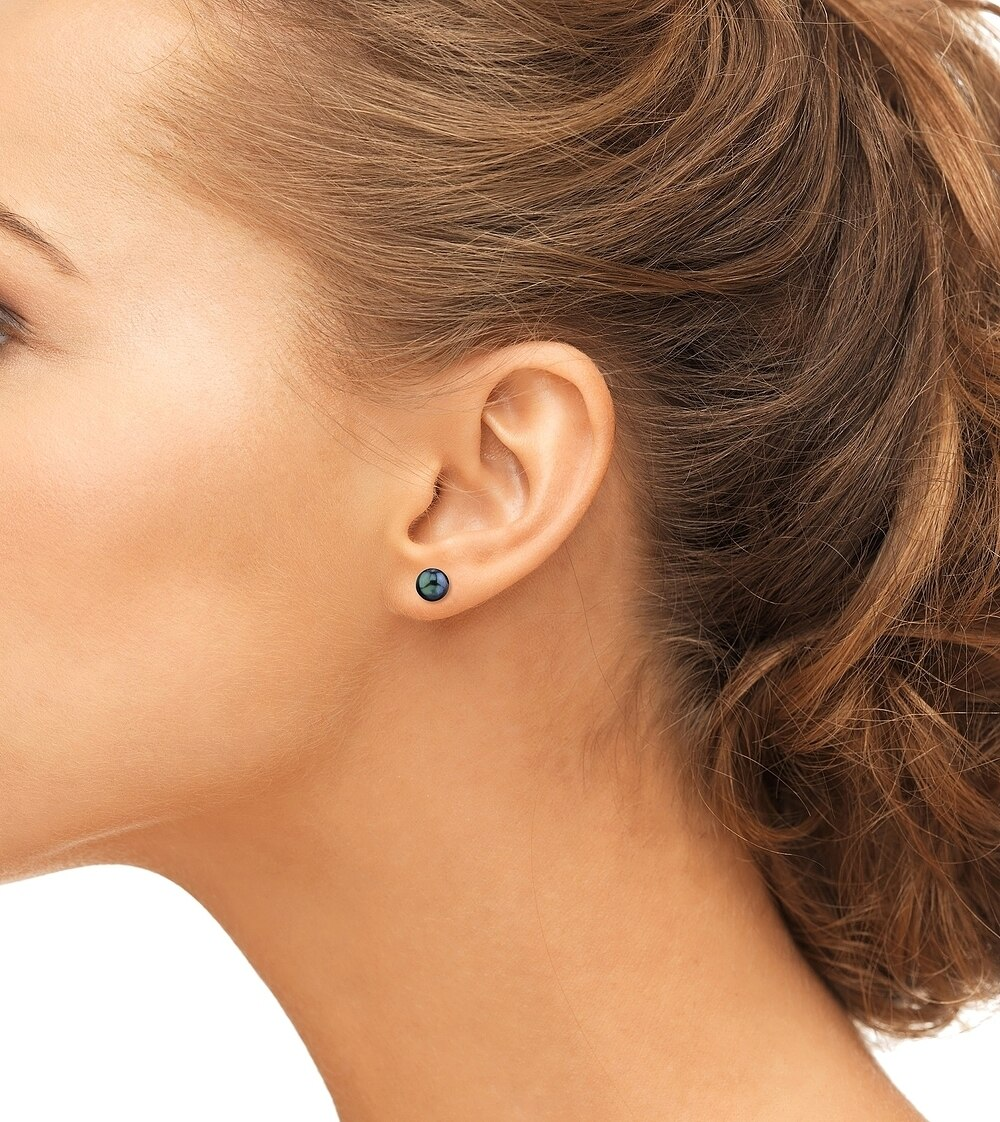 Classic gold stud earrings feature two 8.0-8.5mm Japanese Akoya pearls, selected for their luminous luster