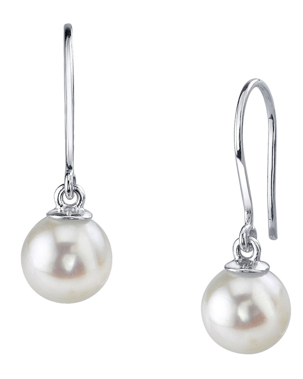 Elegant dangle earrings feature two 7.5-8.0mm Japanese Akoya pearls, selected for their luminous luster
