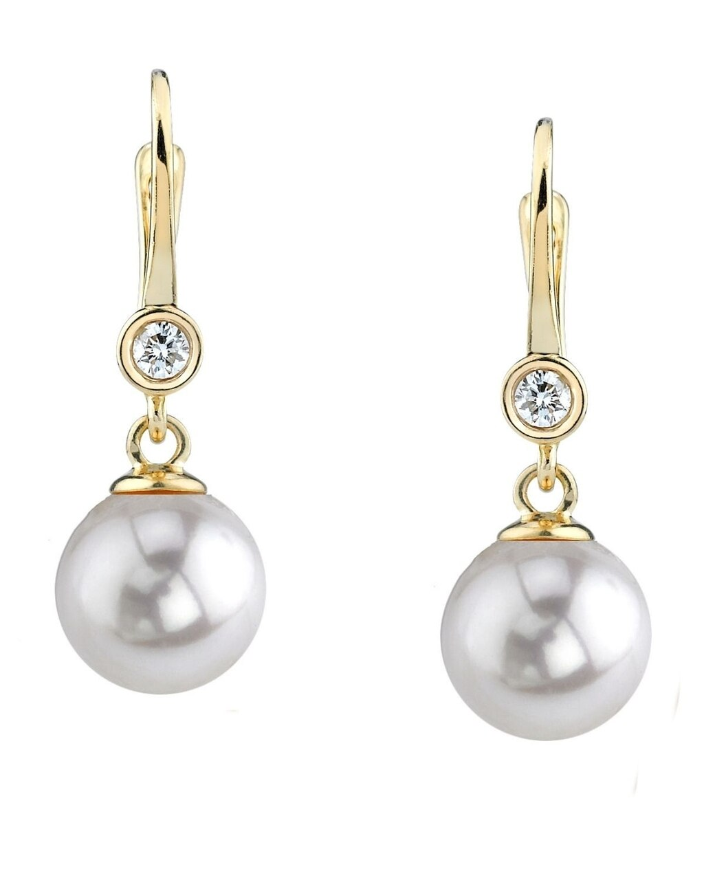 Elegant drop earrings feature two 8.5-9.0mm Japanese Akoya pearls, selected for their luminous luster