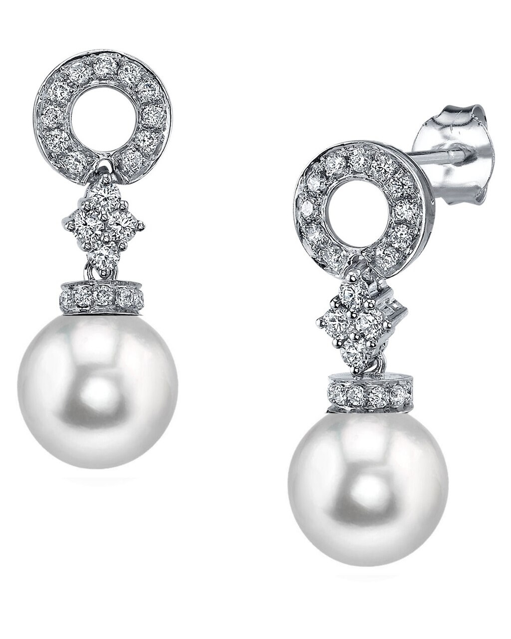 Elegant drop earrings feature two 8.0-8.5mm Japanese Akoya pearls, selected for their luminous luster