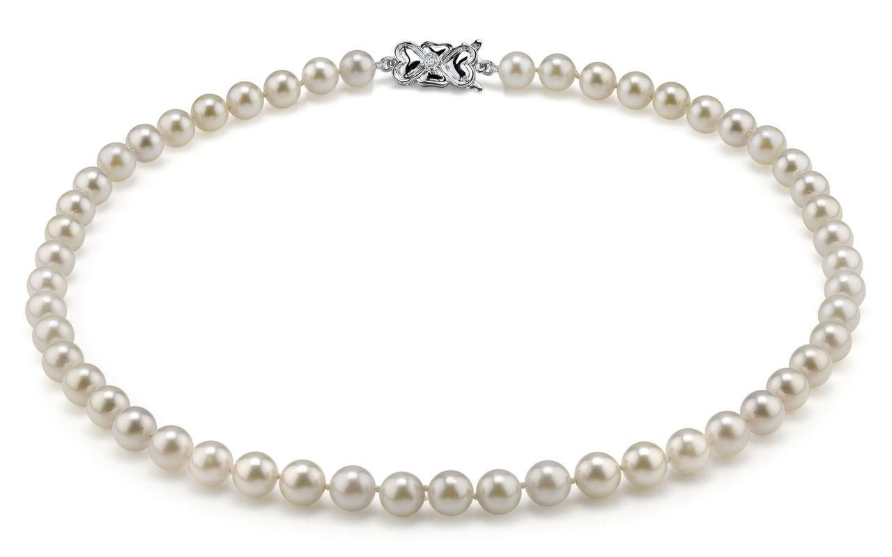 This elegant necklace features 6.5-7.0mm Japanese Akoya pearls, handpicked for their luminous luster
