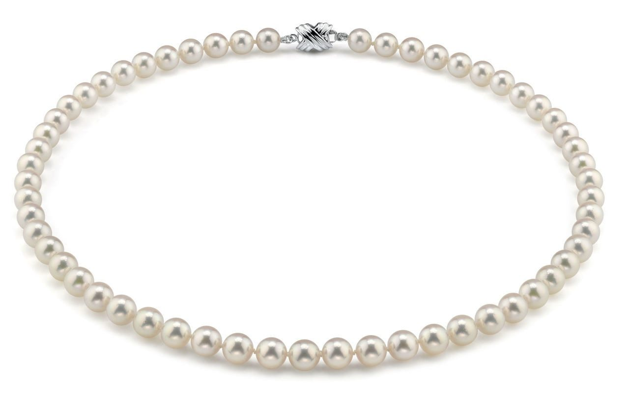 This elegant necklace features 7.0-7.5mm Japanese Akoya pearls, handpicked for their luminous luster