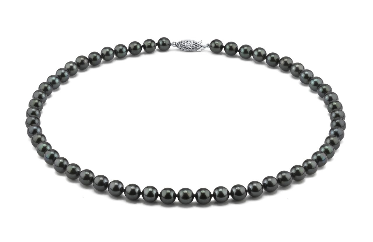 This elegant necklace features 8.0-8.5mm Japanese Akoya pearls, handpicked for their luminous luster