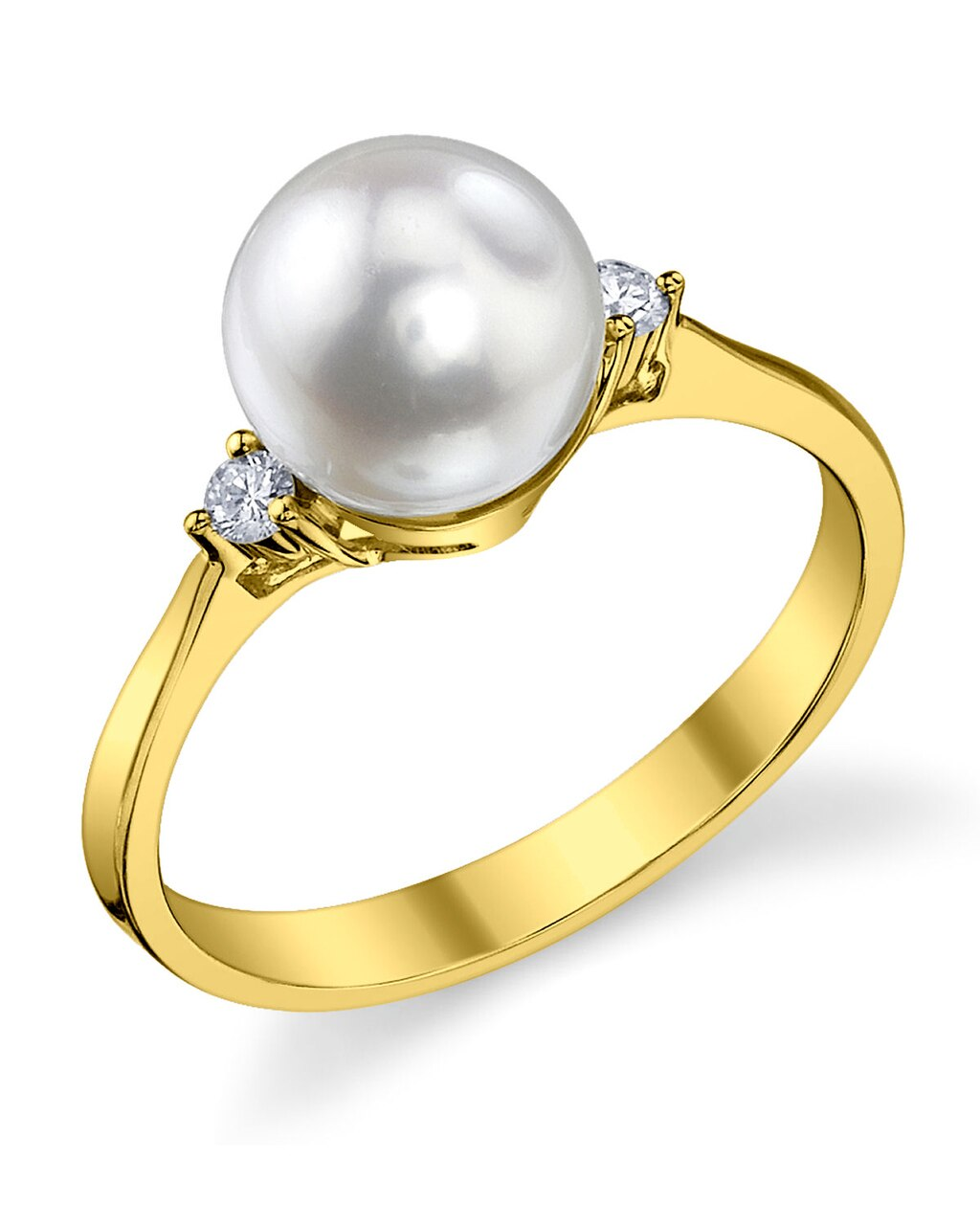 This exquisite ring features an 7.5-8.0mm Japanese Akoya pearl, handpicked for its luminous luster