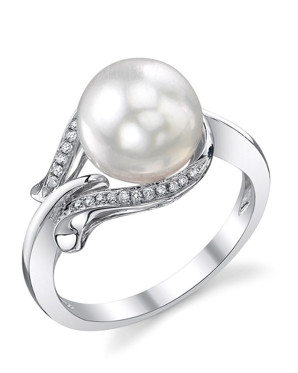 This exquisite ring features an 8.5-9.0mm Japanese Akoya pearl, handpicked for its luminous luster