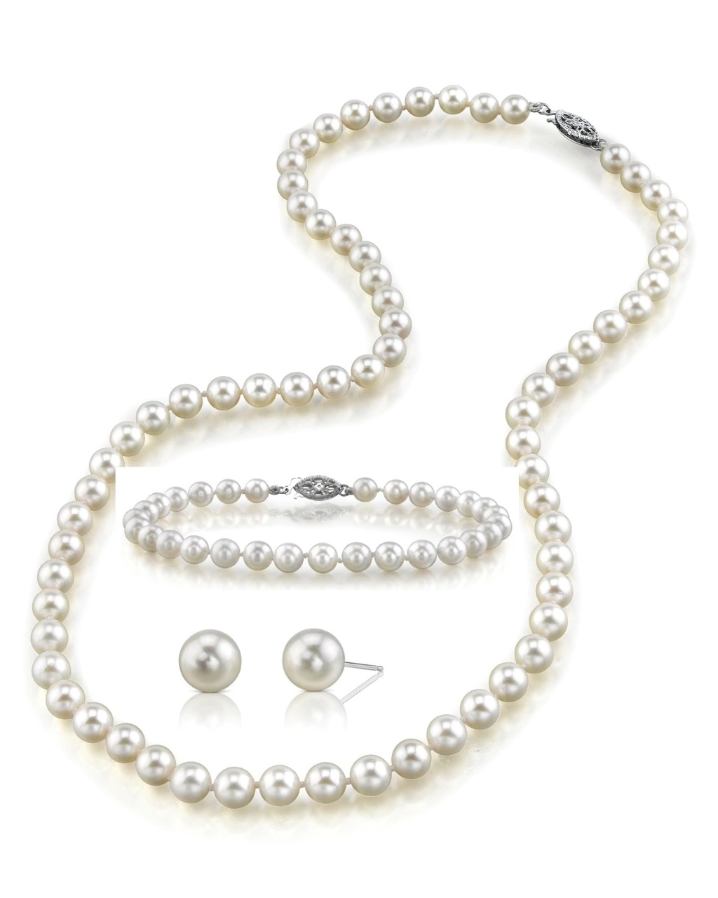 This classic necklace, bracelet and earring set features 6.5-7.0mm Japanese Akoya pearls