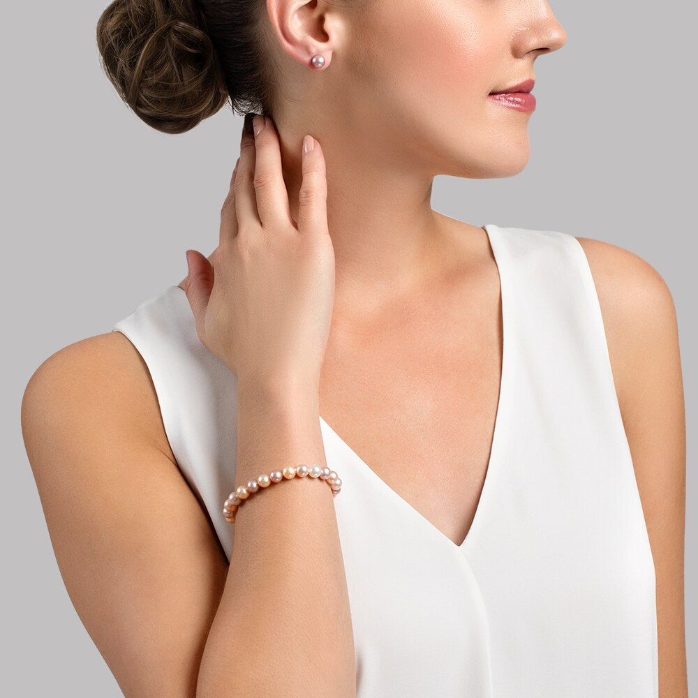 This gorgeous bracelet features 8.0-9.0mm multicolor Freshwater pearls, handpicked for their luminous luster