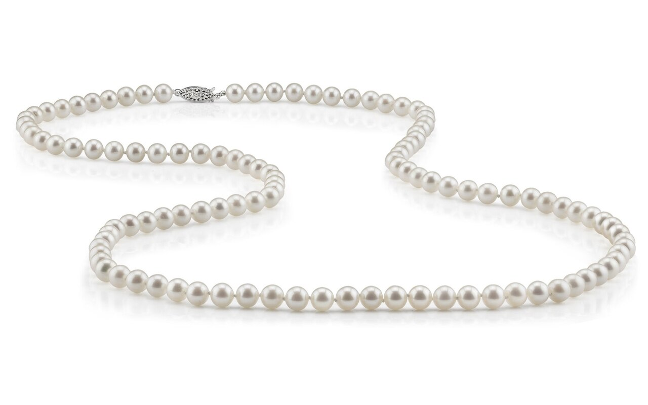 This gorgeous necklace features 6-7.0mm white Freshwater pearls, handpicked for their luminous luster