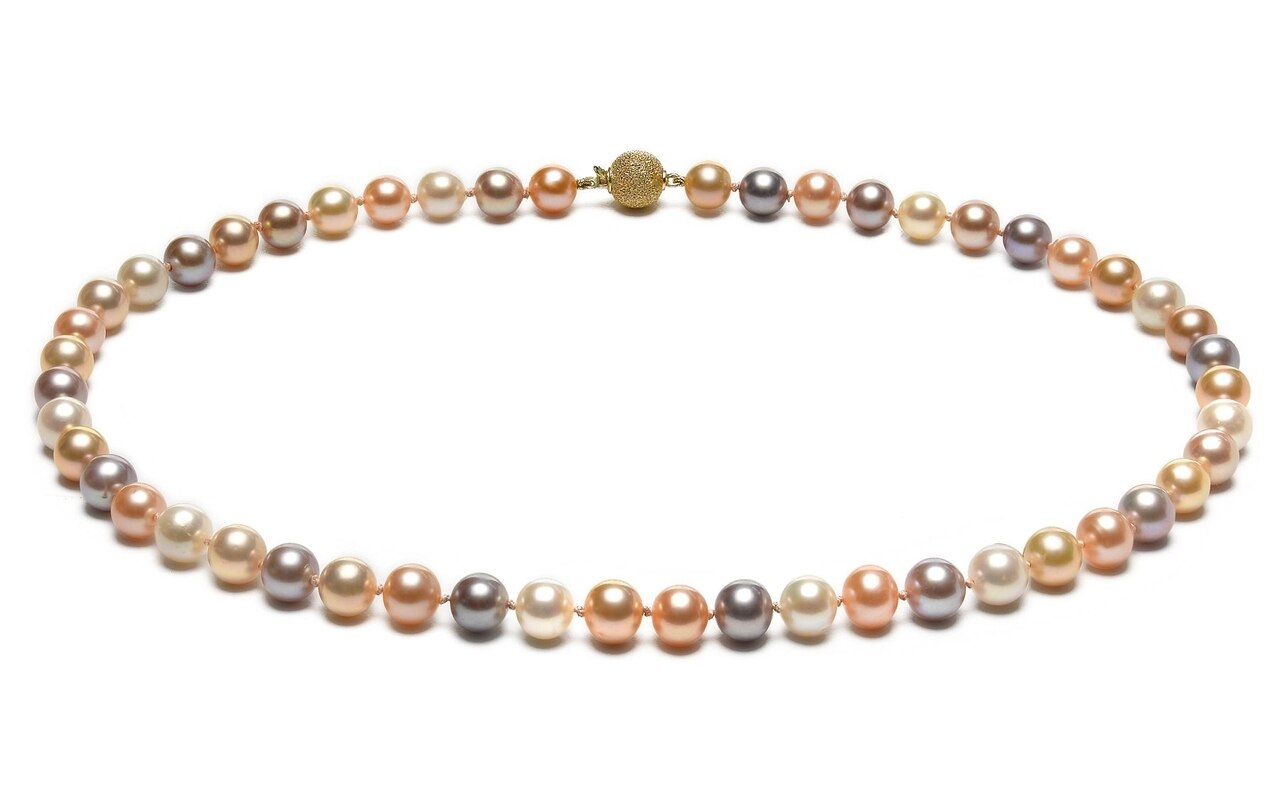 This gorgeous necklace features 7.0-8.0mm multicolor Freshwater pearls, handpicked for their luminous luster