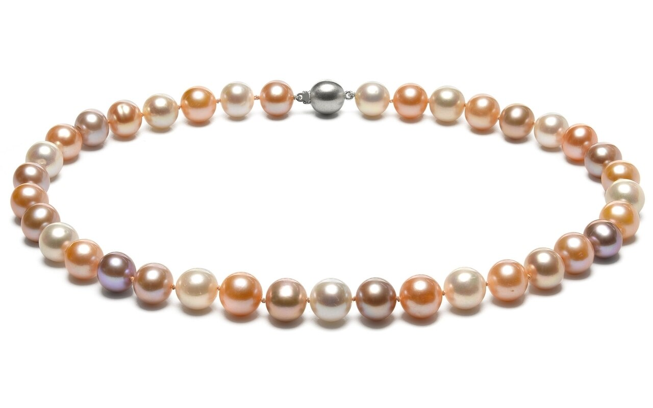 This gorgeous necklace features 9.0-10.0mm multicolor Freshwater pearls, handpicked for their luminous luster