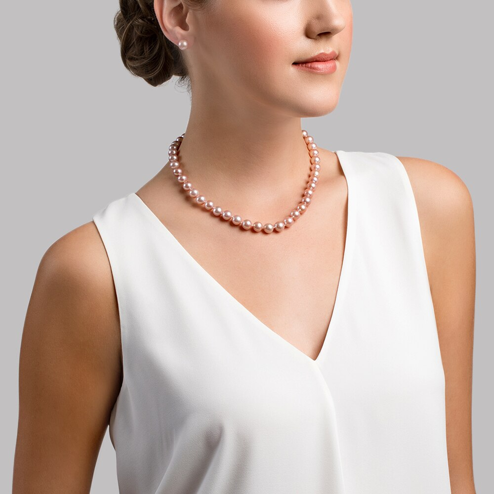 This gorgeous necklace features 10.0-11.0mm pink Freshwater pearls, handpicked for their luminous luster