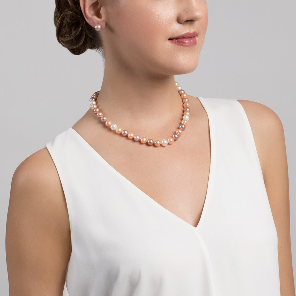 This gorgeous necklace features 10.0-11.0mm multicolor Freshwater pearls, handpicked for their luminous luster