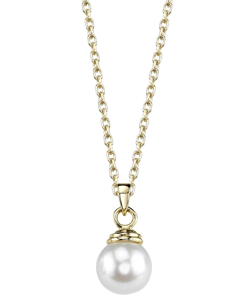 This classic pendant features a 8.0mm Freshwater  Pearl, handpicked for its luminous luster