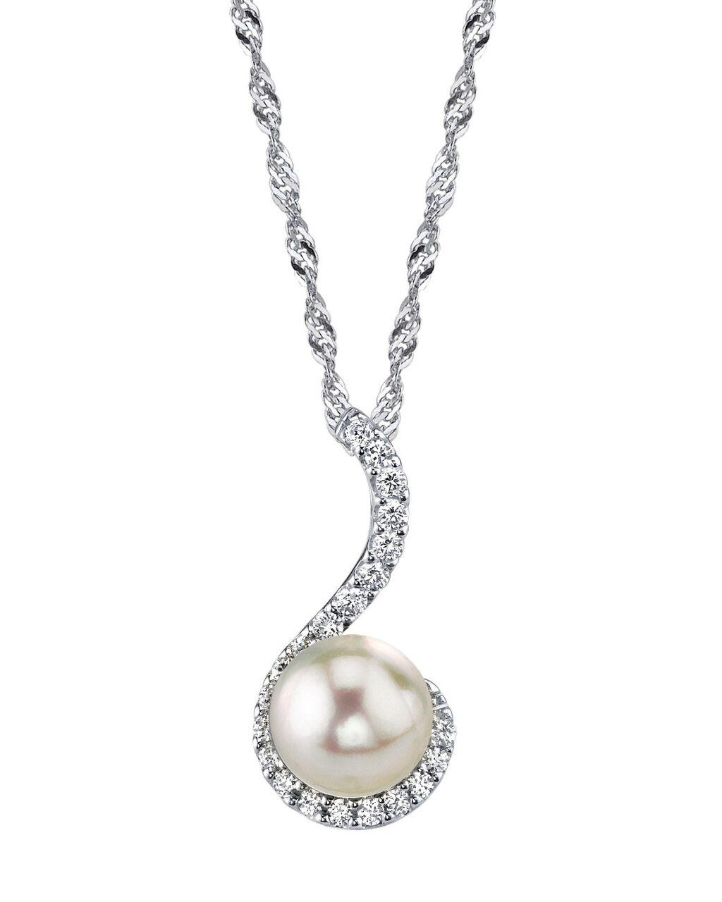 This classic pendant features a 10.0mm Freshwater  Pearl, handpicked for its luminous luster