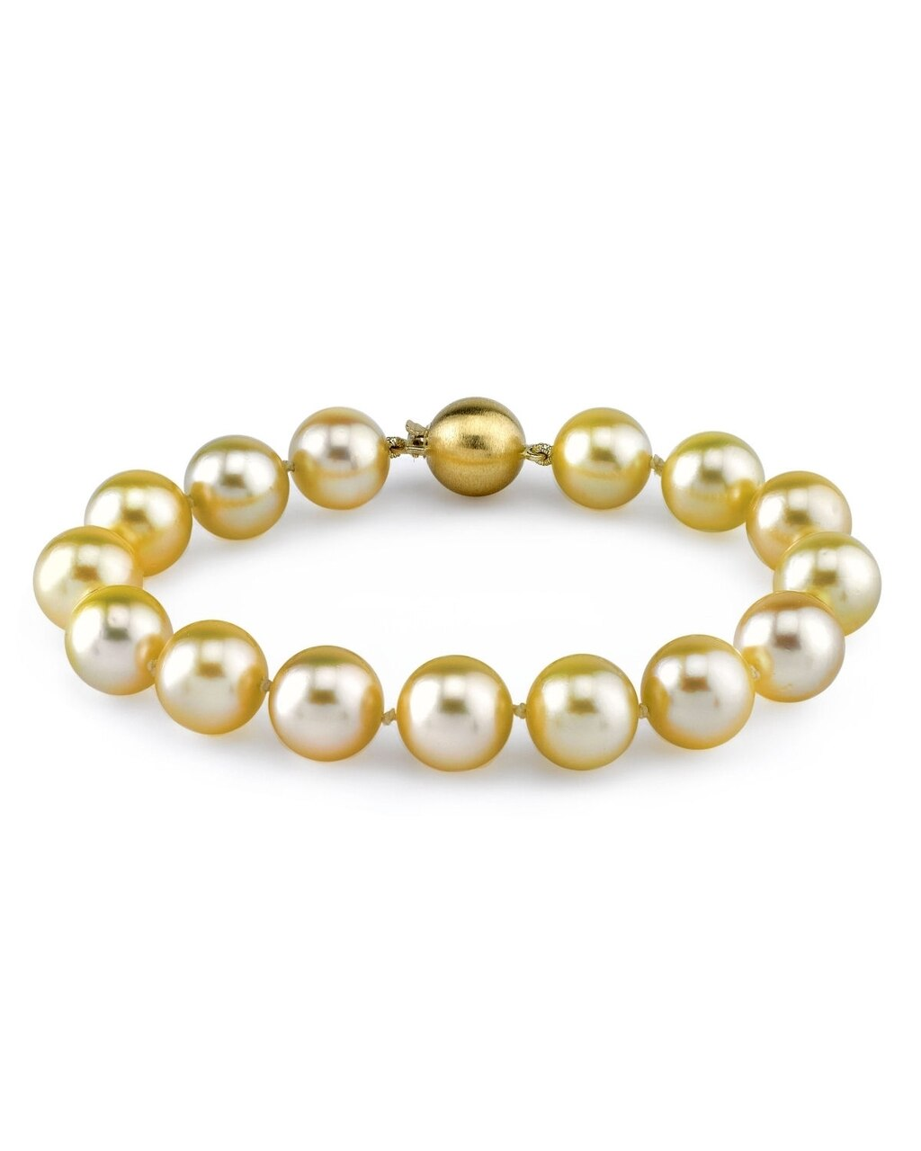 This elegant bracelet features 9.0-10.0mm Gold South Sea pearls, handpicked for their luminous luster