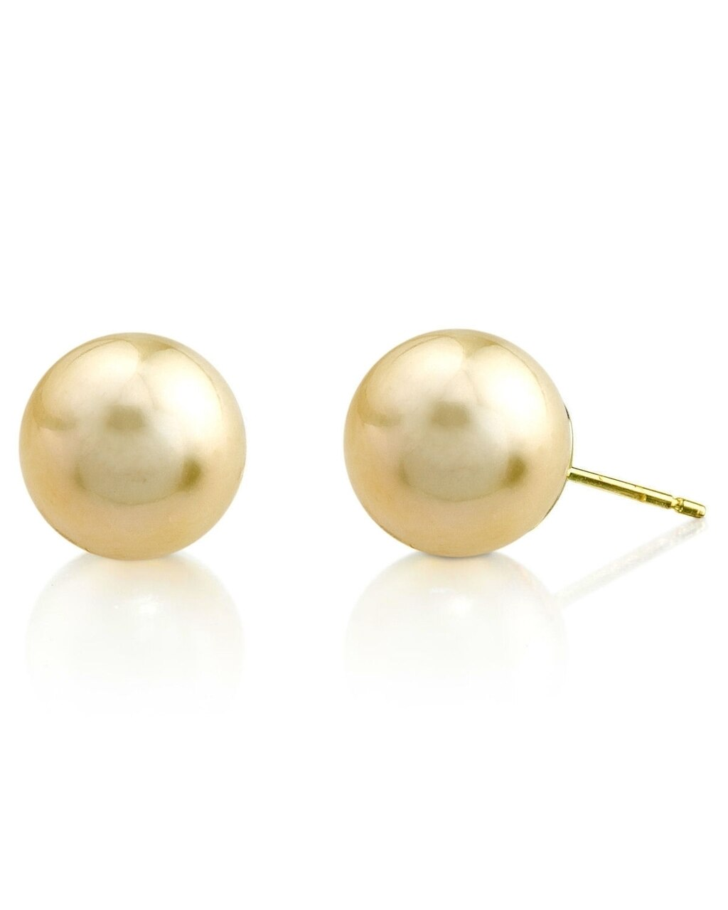 Classic stud earrings feature two 8.0-9.0mm  Gold South Sea pearls, selected for their luminous luster