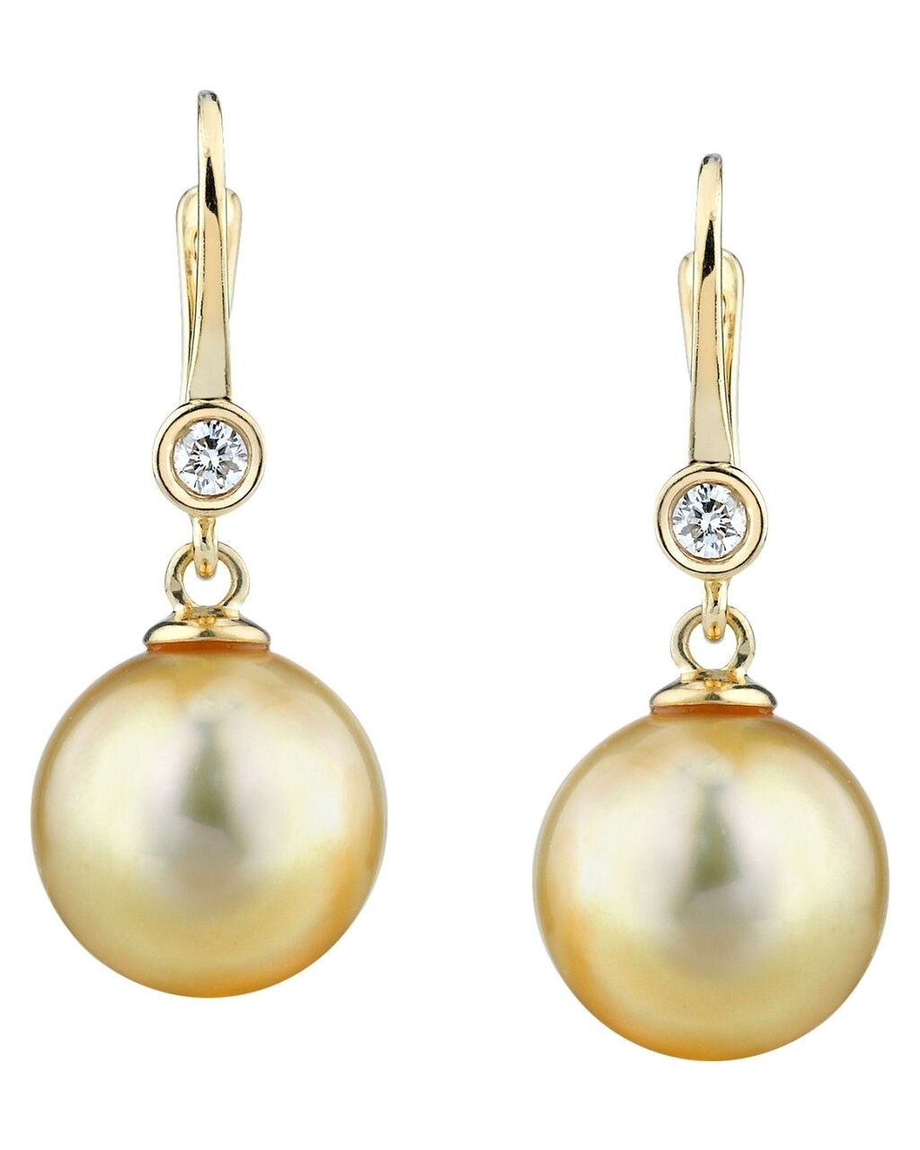 Exquisite earrings feature two 10.0-11.0mm  Gold South Sea pearls, selected for their luminous luster
