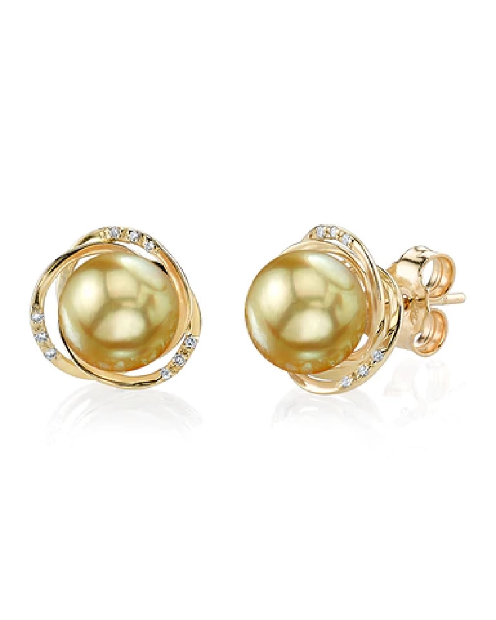 Exquisite earrings feature two 8.0-9.0mm  Gold South Sea pearls, selected for their luminous luster