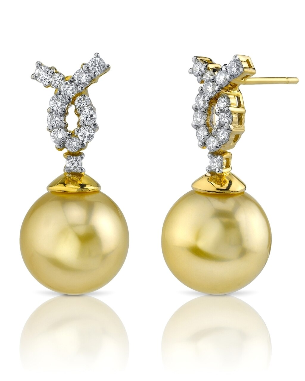 Exquisite earrings feature two 11.0-12.0mm  Gold South Sea pearls, selected for their luminous luster