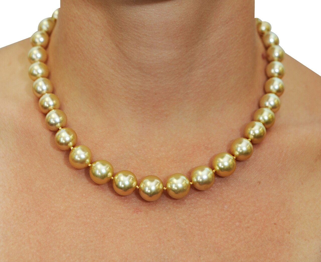 This elegant necklace features 10.0-13.0mm Gold South Sea pearls, handpicked for their luminous luster