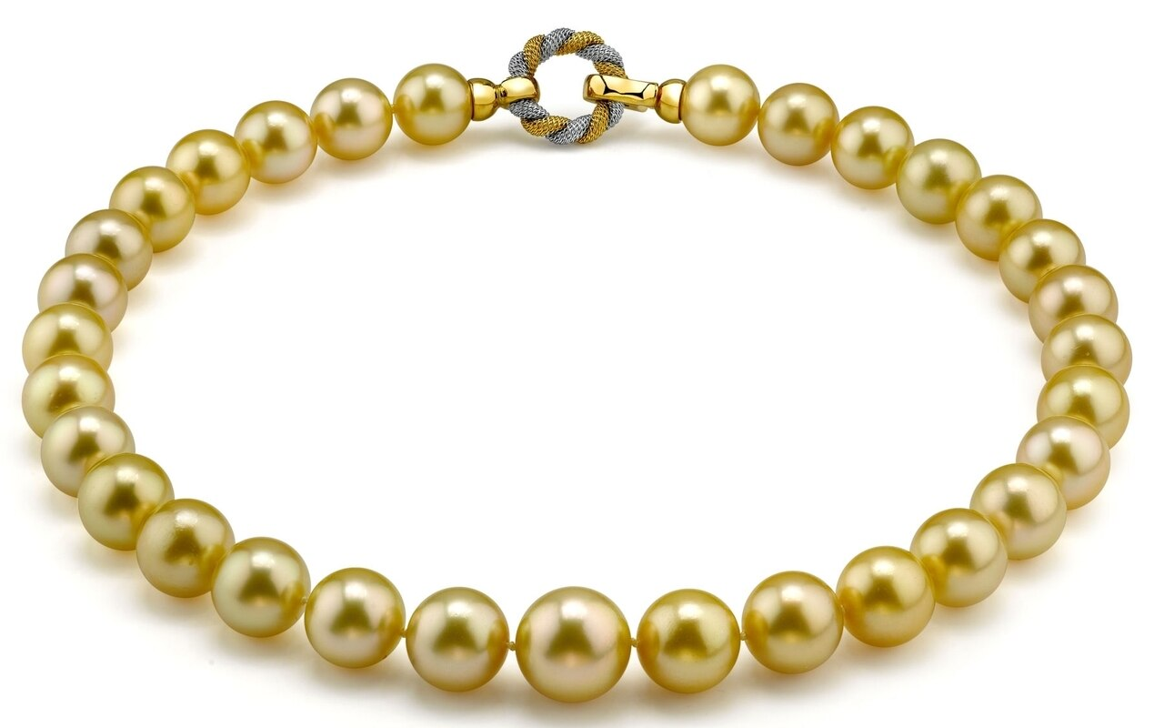 This elegant necklace features 11.0-14.0mm Gold South Sea pearls, handpicked for their luminous luster