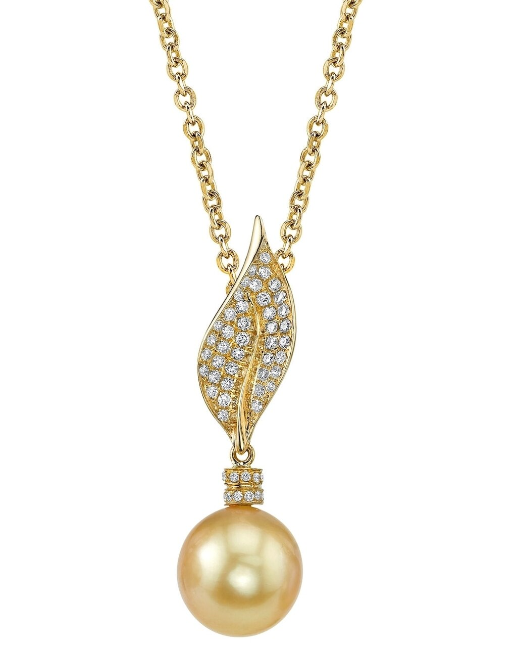 This exquisite pendant features an 10.0-11.0mm Gold South Sea Pearl, handpicked for its luminous luster