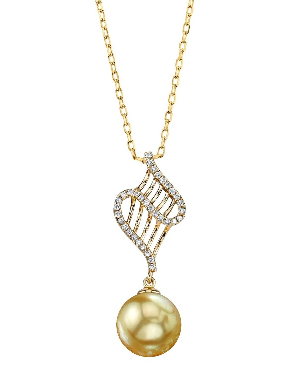 This exquisite pendant features an 9.0-10.0mm Gold South Sea Pearl, handpicked for its luminous luster
