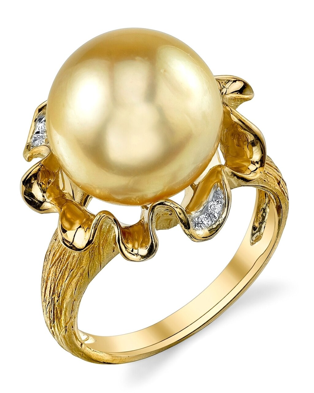 This exquisite ring features an 12.0-13.0mm Gold South Sea pearl, handpicked for its luminous luster
