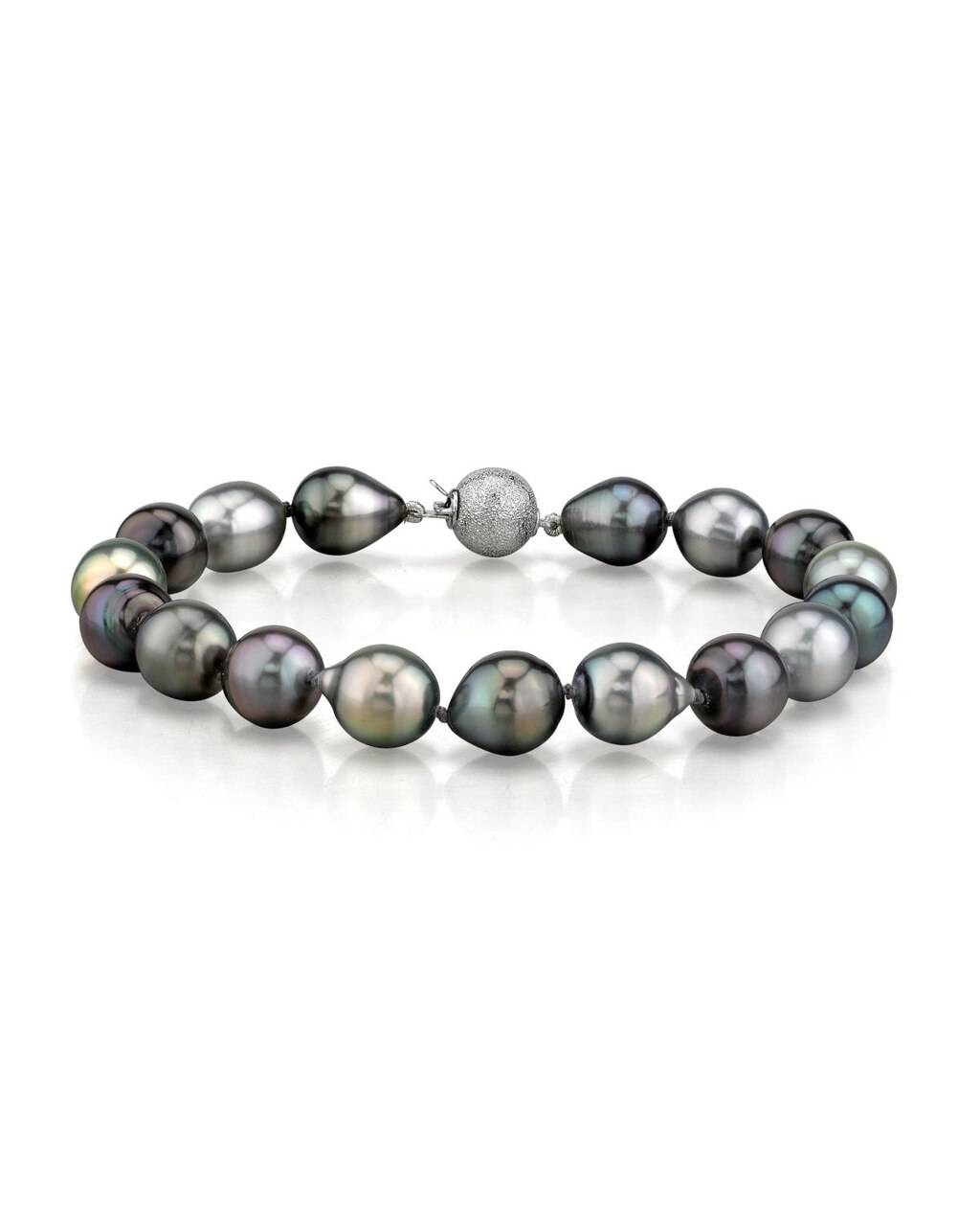 This elegant bracelet features 9.0-10.0mm Tahitian South Sea pearls, handpicked for their luminous luster