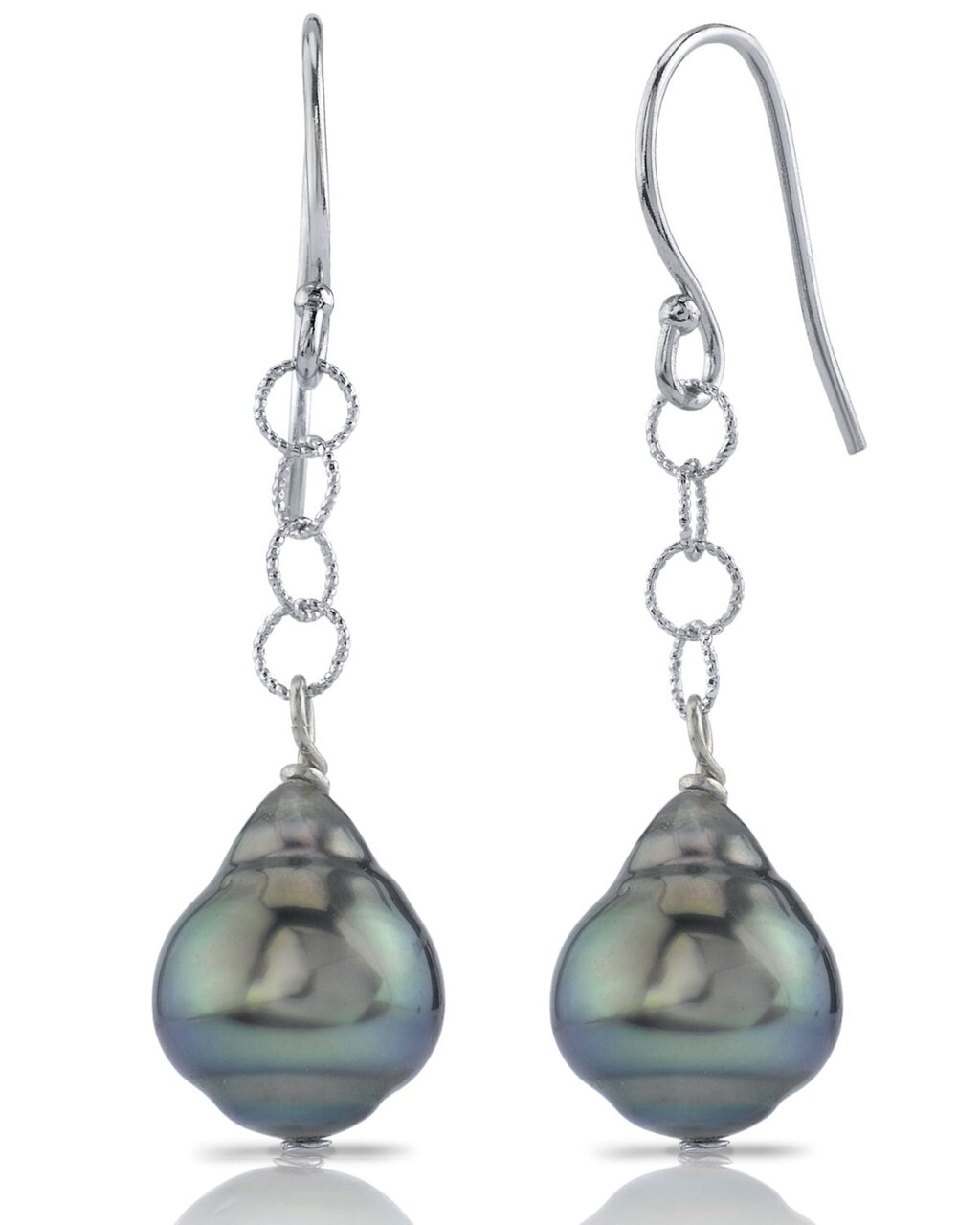 Exquisite earrings feature two 9.0-10mm  Tahitian South Sea pearls, selected for their luminous luster