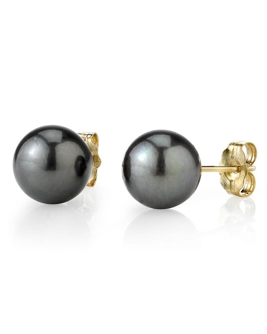 Classic stud earrings feature two 8.0-9.0mm  Tahitian South Sea pearls, selected for their luminous luster