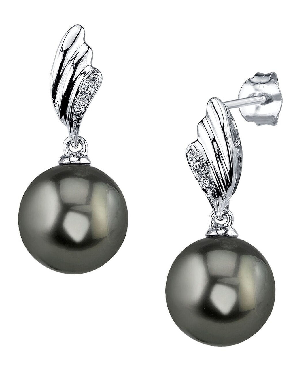Exquisite earrings feature two 9.0-10.0mm  Tahitian South Sea pearls, selected for their luminous luster