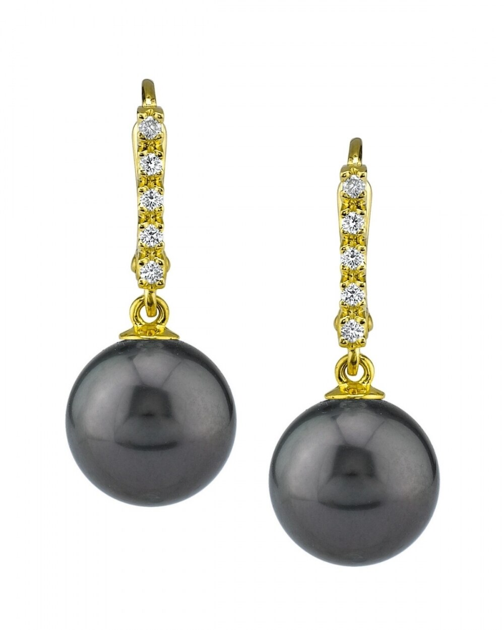 Exquisite earrings feature two 10.0-11.0mm  Tahitian South Sea pearls, selected for their luminous luster