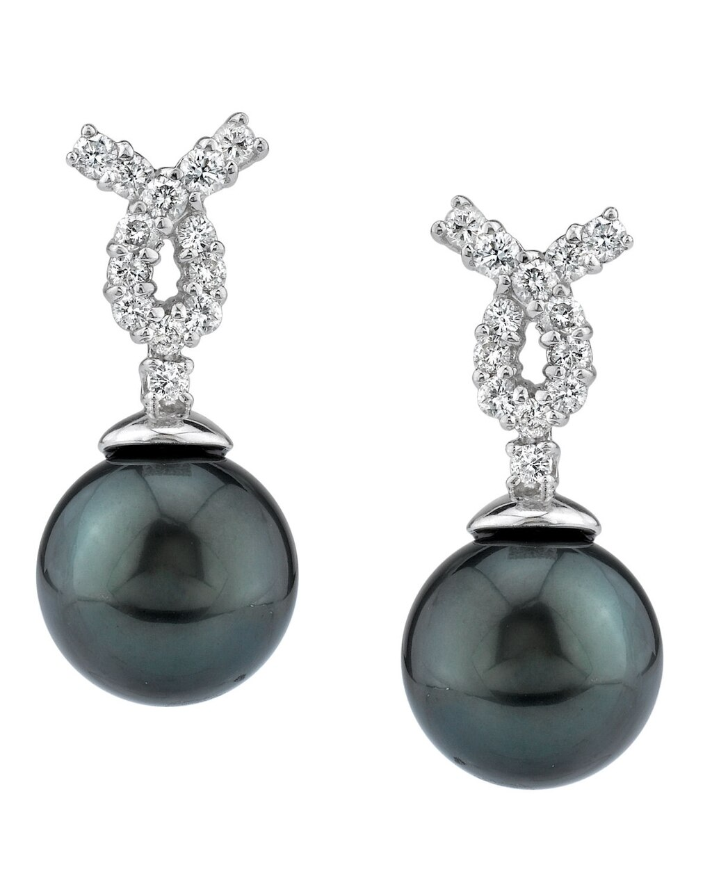 Exquisite earrings feature two 11.0-12.0mm  Tahitian South Sea pearls, selected for their luminous luster