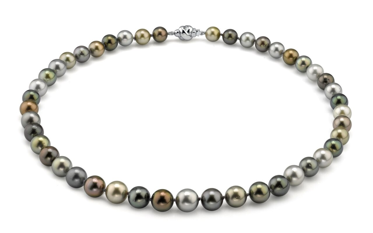 This elegant necklace features 8.0-11.0mm Tahitian South Sea pearls, handpicked for their luminous luster