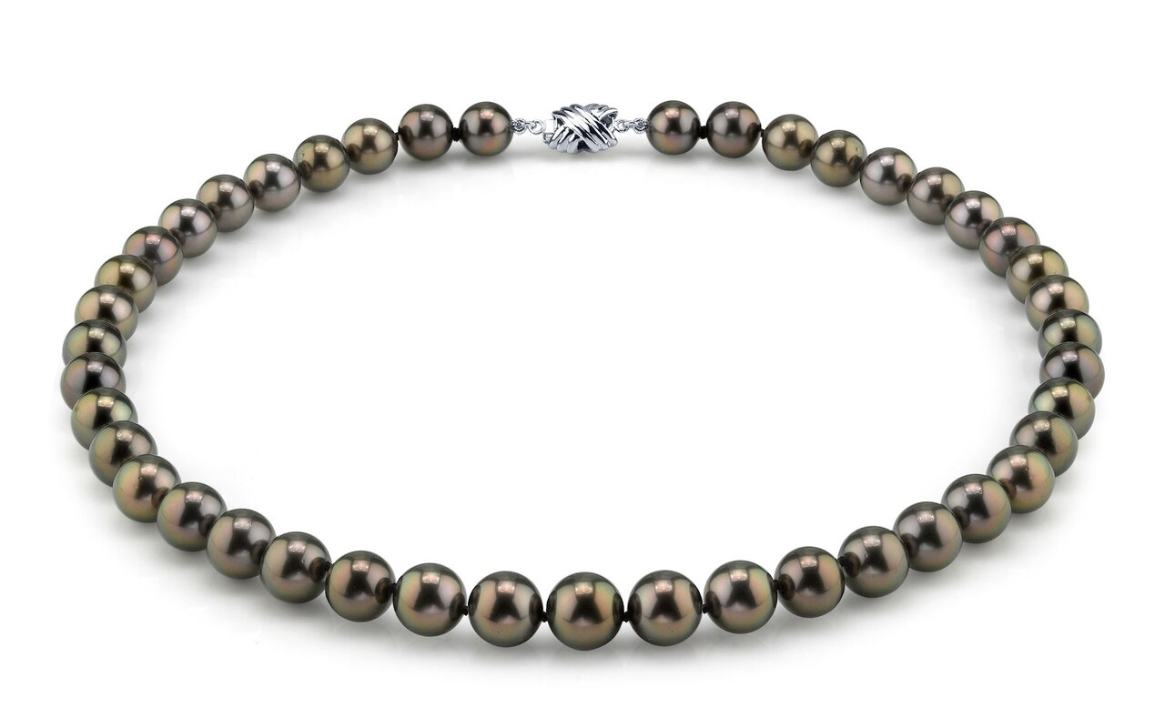 This elegant necklace features 8.0-10.0mm Tahitian South Sea pearls, handpicked for their luminous luster