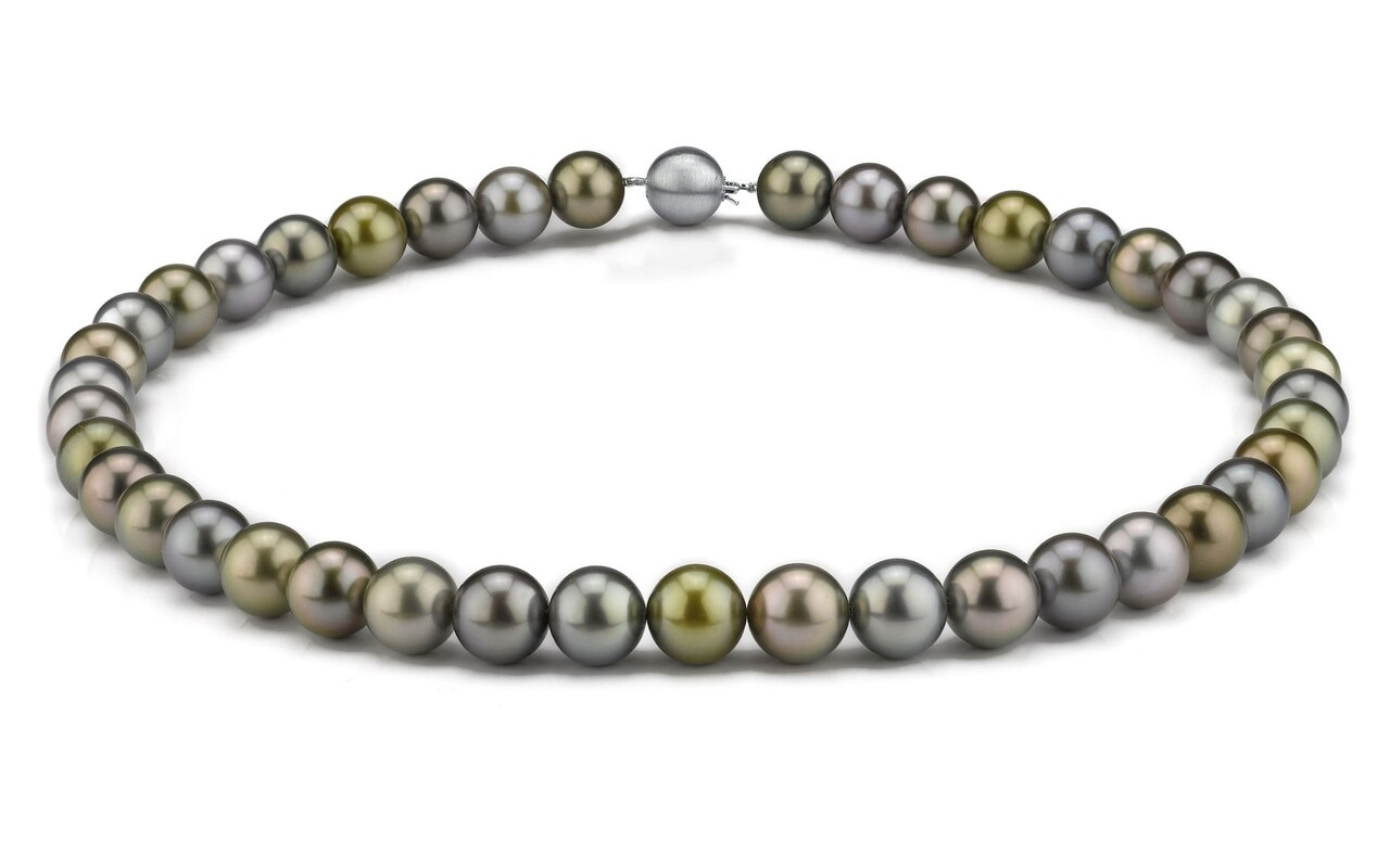 This elegant necklace features 9.0-11.0mm Tahitian South Sea pearls, handpicked for their luminous luster