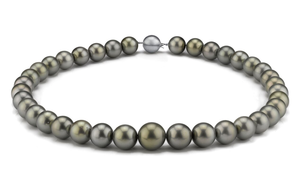 This elegant necklace features 11.0-14.0mm Tahitian South Sea pearls, handpicked for their luminous luster