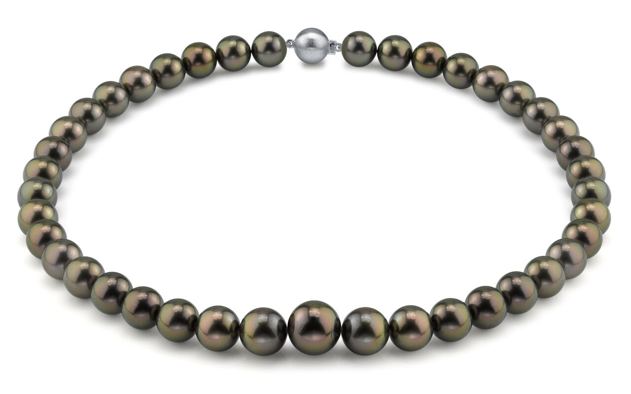 This elegant necklace features 10.0-13.0mm Tahitian South Sea pearls, handpicked for their luminous luster