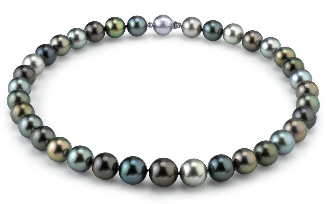 This elegant necklace features 11.0-13.0mm Tahitian South Sea pearls, handpicked for their luminous luster