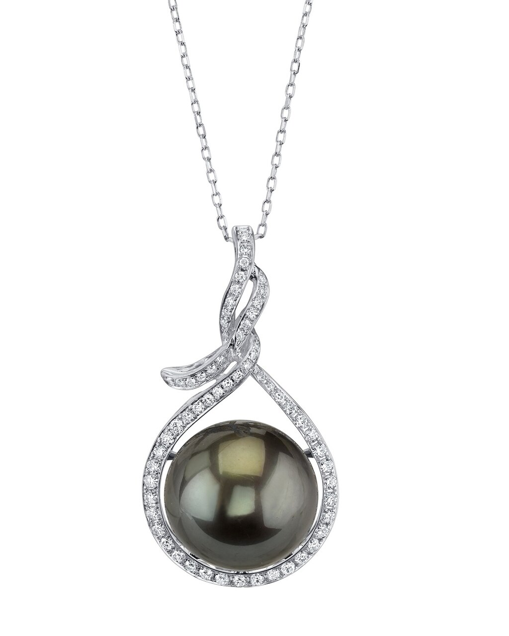 This exquisite pendant features an 14.0-15.0mm Tahitian South Sea Pearl, handpicked for its luminous luster