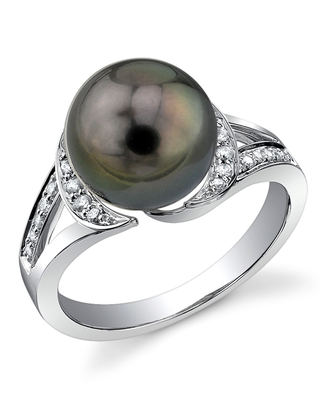 This exquisite ring features an 10.0-11.0mm Tahitian South Sea pearl, handpicked for its luminous luster
