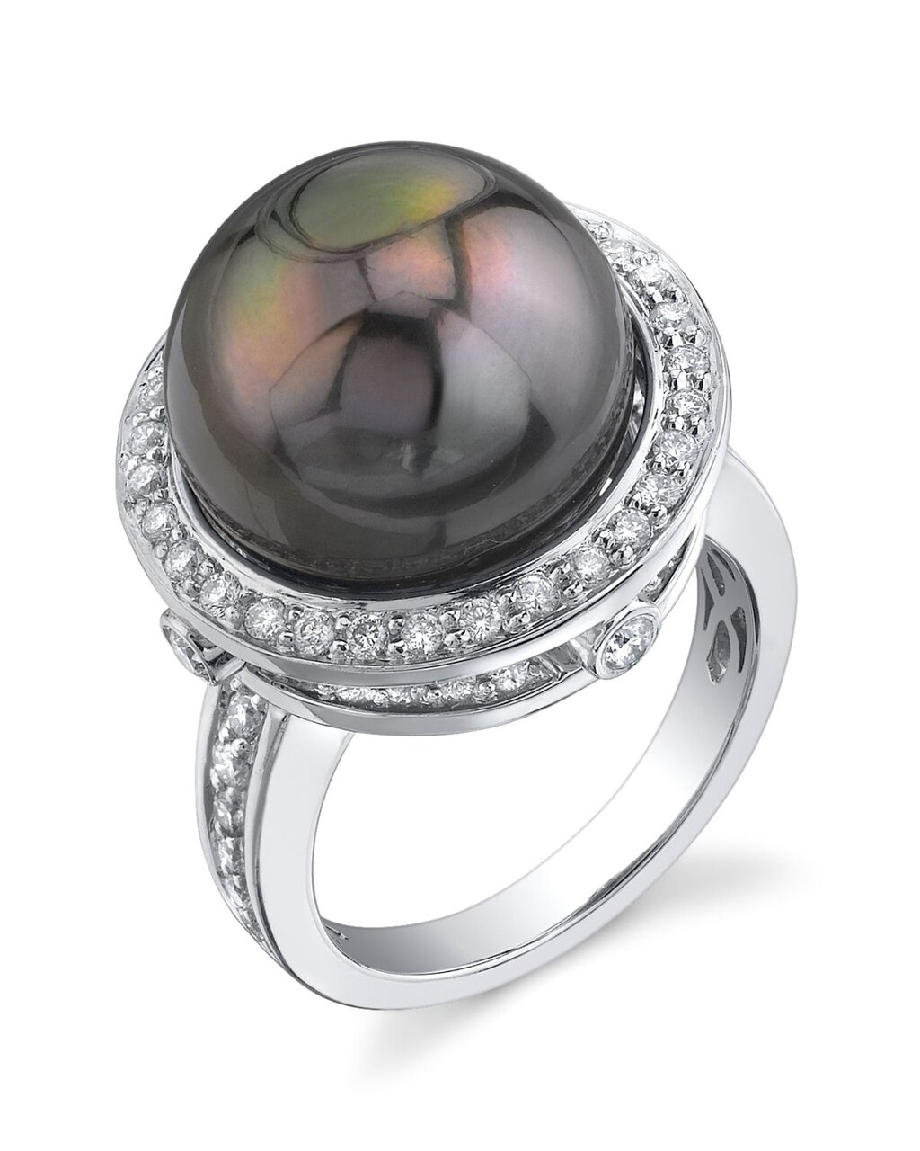 This exquisite ring features an 14.0-15.0mm Tahitian South Sea pearl, handpicked for its luminous luster