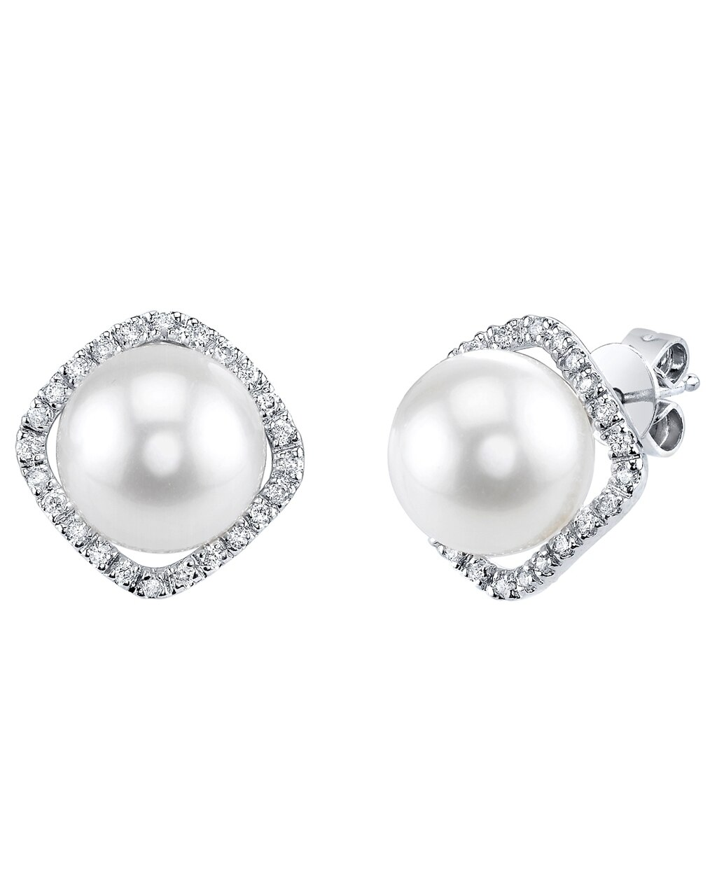 Exquisite earrings feature two 8.0-9.0mm  White South Sea pearls, selected for their luminous luster