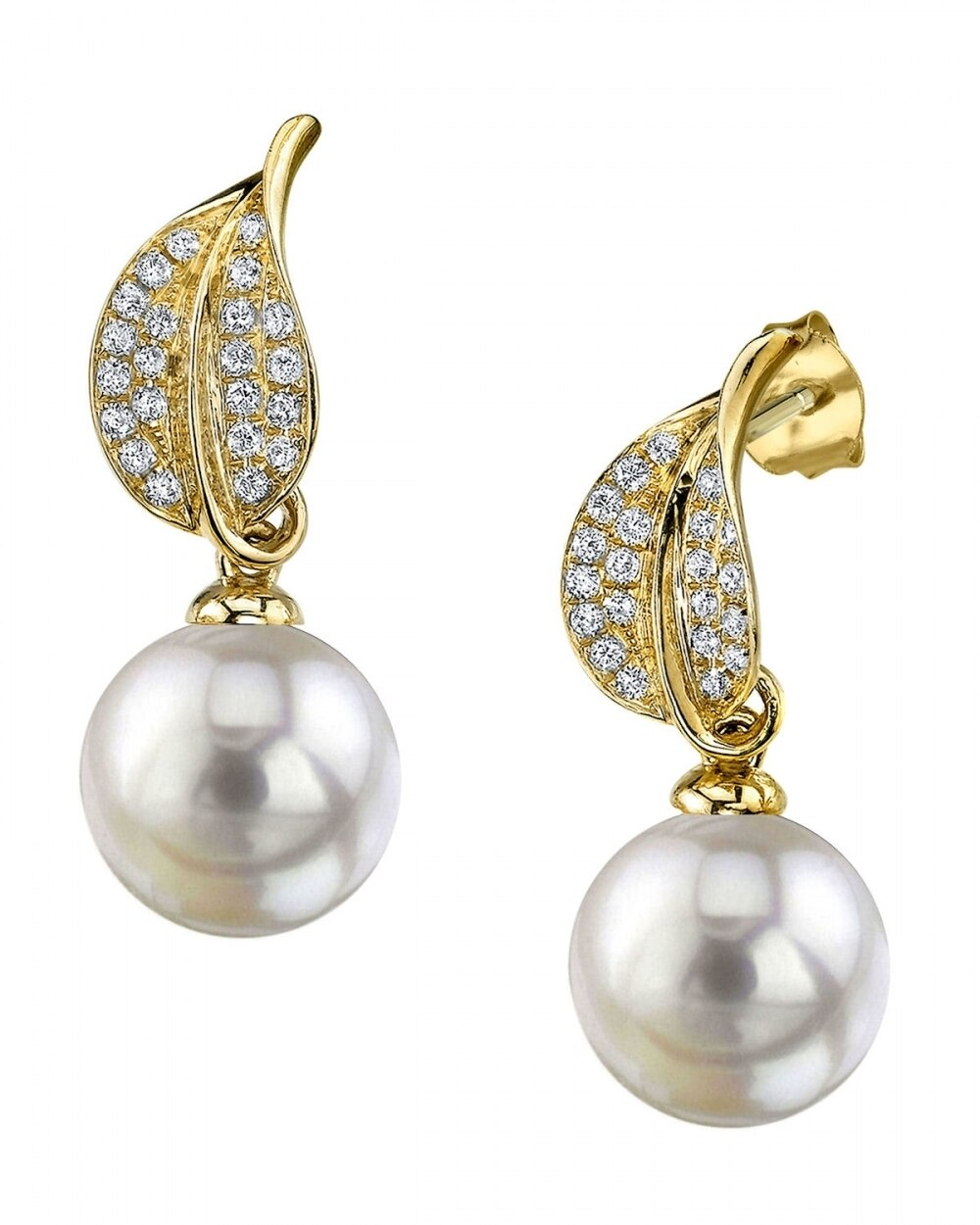 Exquisite earrings feature two 9.0-10.0mm  White South Sea pearls, selected for their luminous luster