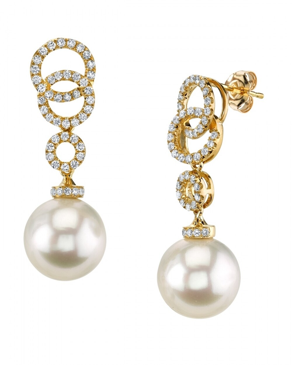 Exquisite earrings feature two 10.0-11.0mm  White South Sea pearls, selected for their luminous luster