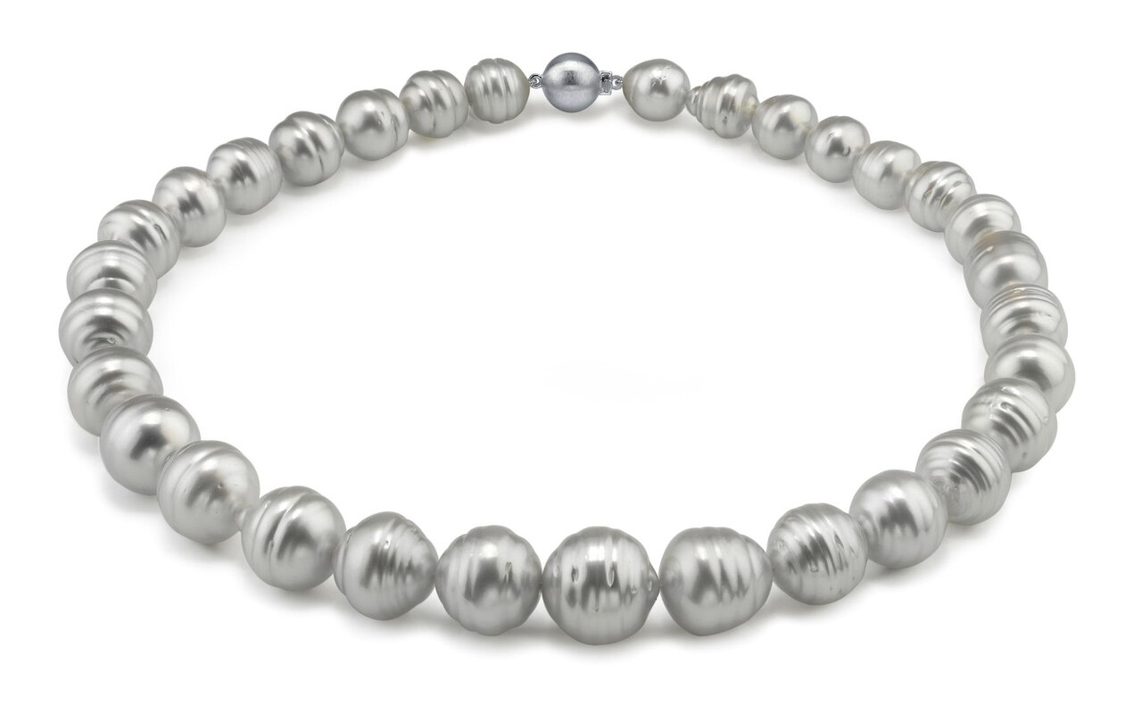 This elegant necklace features 10.0-15.0mm White South Sea pearls, handpicked for their luminous luster